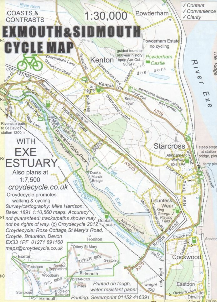 Exmouth & Sidmouth Cycle map